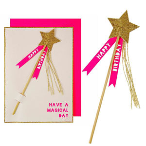 Detachable Glitter Star Magic Wand Birthday Card - children's birthday cards
