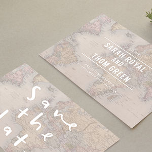 Globe Trotter Save The Dates - wedding stationery