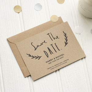 Floral Kraft Save The Date - save the date cards
