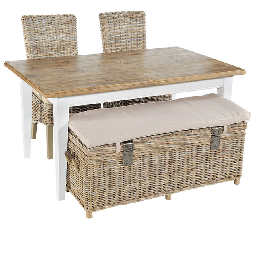 Washed rattan storage bench by the orchard furniture Rattan storage bench