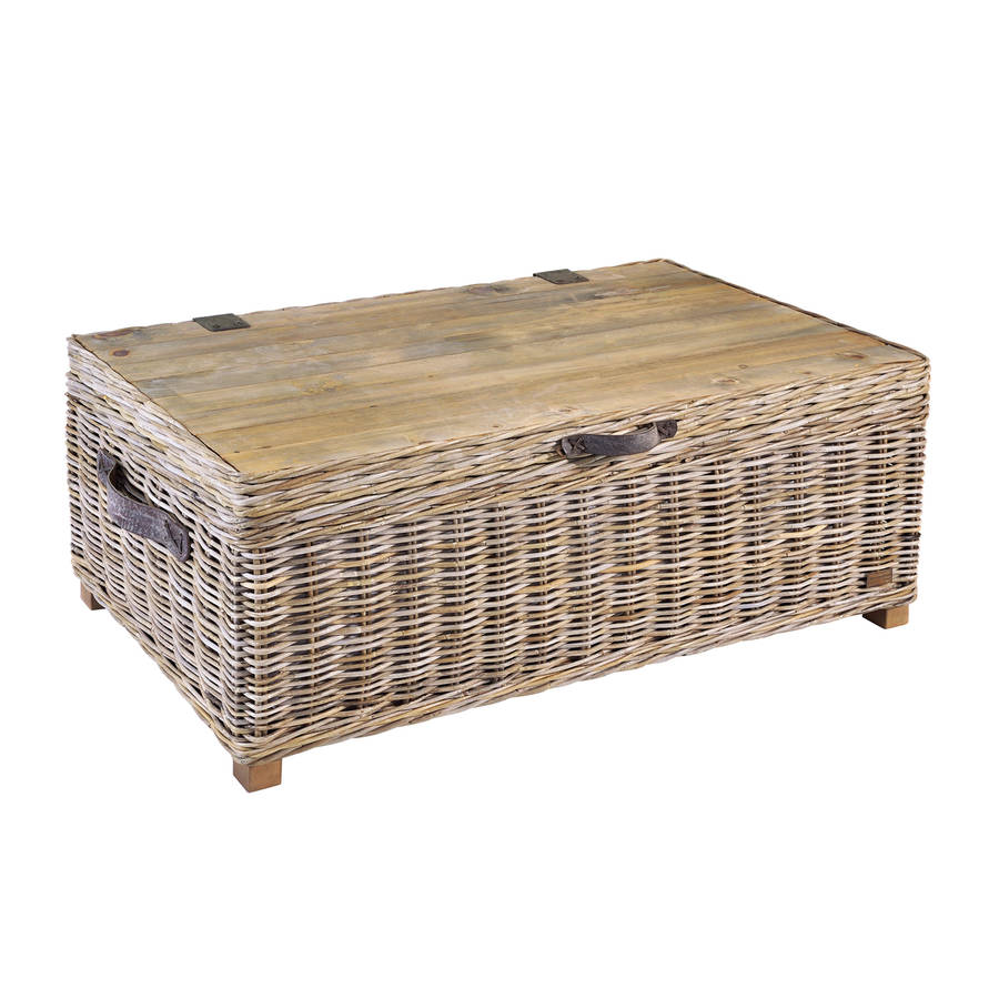 Washed Rattan Storage Coffee Table By The Orchard Furniture