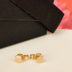 Solid Gold Pin Stud Earrings - earrings