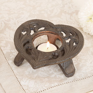 Cast Iron Heart Tealight Holder - table decoration