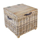 Washed Rattan Storage Side Table
