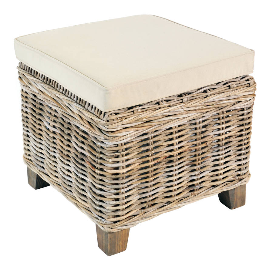 Superieur Washed Rattan Storage Stool