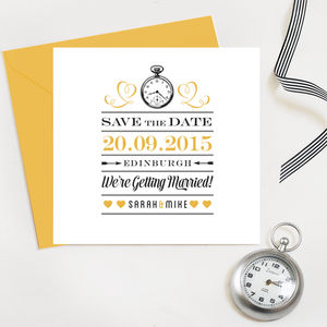 Save The Date Wedding Cards - on trend: yellow & grey