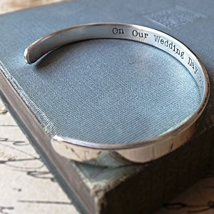 Hidden Message Silver Cuff Bracelet