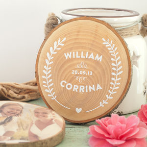 Personalised Wooden Wedding Keepsake - typography