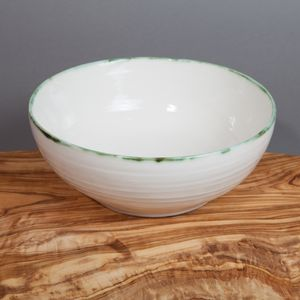 Ceramic Porcelain Copper Green Rim Pasta Bowl