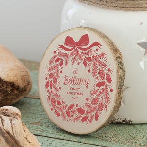Personalised Family Christmas Wooden Table Decoration - christmas home