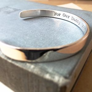 Personalised Silver Cuff Bracelet For Dad