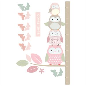 Springtime Owl Height Chart Sticker - wall stickers