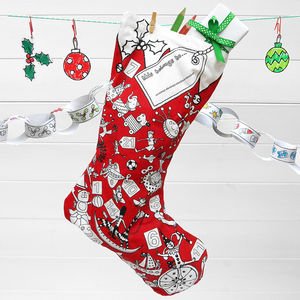 Colour In Stocking Advent Calendar + Fabric Pens X One - stockings & sacks