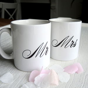 Mr And Mrs Wedding Mugs - personalised wedding gifts