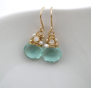 Aquamarine Quartz, Moonstone And Pearl Earrings - earrings