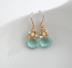 Aquamarine Quartz, Moonstone And Pearl Earrings - women's jewellery