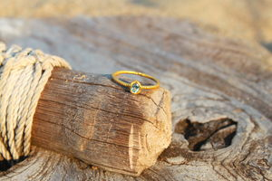 18ct Gold Ring With Aquamarine - women's jewellery