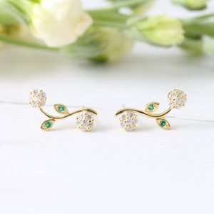 Silver Or Gold Flower With Leaf Ear Studs - earrings
