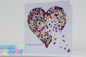 Congratulations Butterfly Heart Card