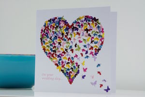 Wedding Butterfly Heart Kaleidoscope Card - wedding cards