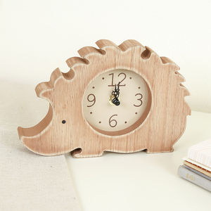 Children's Bedroom Hedgehog Wooden Clock - woodland nursery