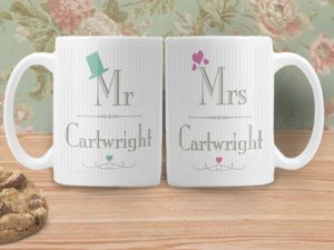 Mr And Mrs Personalised Wedding Mugs