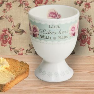 Vintage Rose Personalised Egg Cup
