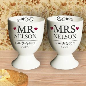 Mr And Mrs Pair Of Personalised Egg Cups