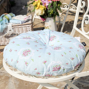 Duck Egg Blue Floral Seat Pad - bedroom