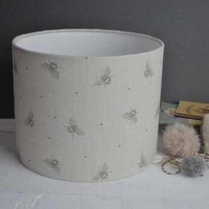 Busy Bees Linen Drum Lampshade - furnishings & fittings