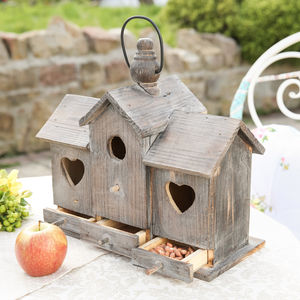 Heart Wooden Bird House And Feeder - 70th birthday gifts
