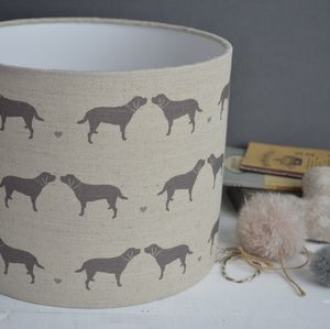 Labrador And Hearts Linen Drum Lampshade