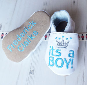 Personalised 'It's A Boy' Prince Baby Shoes