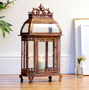 Vintage Brass Gold Effect Italian Lantern - lights & lanterns