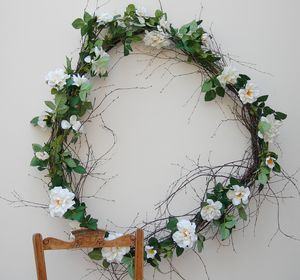 Cream Rose Garland 183cm - rustic wedding