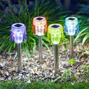Set Of Four Toadstool Solar Stake Lights - garden sale