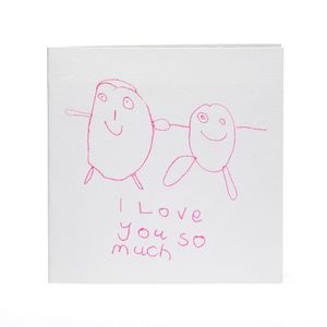 'I Love You So Much' Hand Printed Card