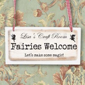 Fairies Welcome Personalised Girls Bedroom Sign - children's room accessories