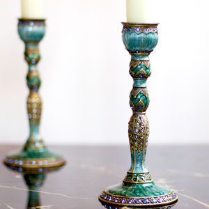 Peacock Feather Vintage Effect Decorative Candlestick - candles & candlesticks