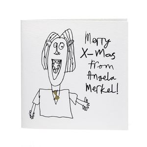Angela Merkel Handprinted Christmas Card - christmas cards