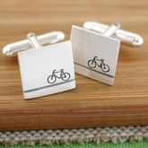 Personalised Sterling Silver Bike Cufflinks - father's day