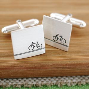 Personalised Sterling Silver Bike Cufflinks - wedding jewellery