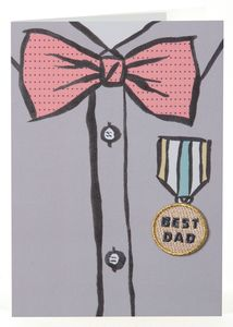 Best Bow Tie Dad Iron On Patch Card