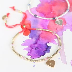 Bead And Crystal Bracelet With Stamped Heart