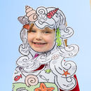Colour-in Party Hat - Mermaid Wig