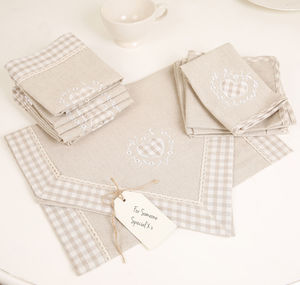 Country Cream Gingham Table Linen Collection - napkins