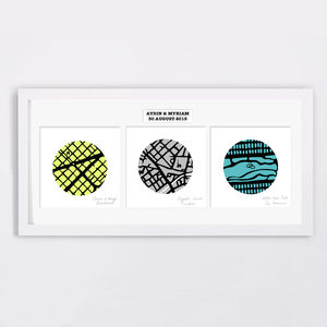 Trio Of Personalised Map Art Circles