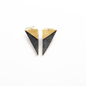 'Vito' Geometric Leather Earrings - earrings