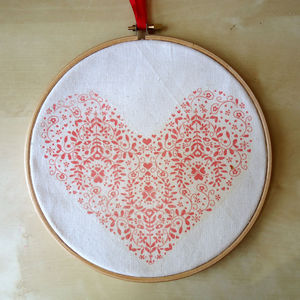 Heart Fabric Hoop