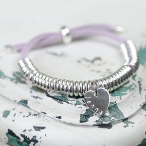 Personalised Suede Links Name Charm Bracelet